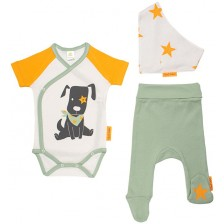 Бебешки комплект от 3 части Rach - Doggy, 74 cm, оранжев -1