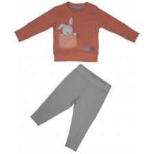 Бебешки комплект от 2 части Rach - Bunny Love, 68 cm, червен -1