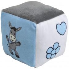 Бебешко кубче със звънче Happy people - Магаренце, синьо -1