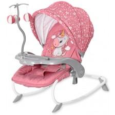 Бебешки шезлонг Lorelli - Dream Time, Rose Velvet Unicorn -1