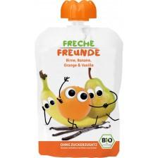 Био плодова закуска Freche Freunde - Круша, банан, портокал и ванилия, 100 g -1