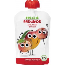 Био плодова закуска Freche Freunde - Ябълка, манго, праскова, 100 g  -1