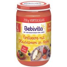 Био пюре от ябълка, ягода и боровинка Bebivita - 250 g -1