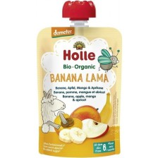 Био плодов пауч Holle - Банан, ябълка, манго и кайсия, 100 g