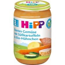 Био ястие Hipp - Зеленчуци, сладки картофи и пилешко, 220 g -1