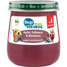 Био плодово пюре Freche Freunde - Ябълка, ягода и боровинка, 120 g -1
