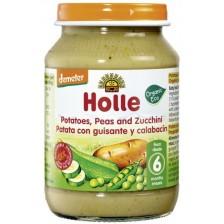 Био зеленчуково пюре Holle - Картофи, грах и тиквички, 190 g -1