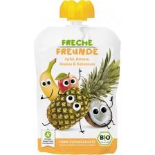 Био плодова закуска Freche Freunde - Ябълка, банан, ананас и кокос, 100 g -1