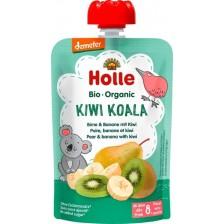 Био плодово пюре пауч Holle - Круша, банан и киви, 100 g -1