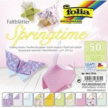 Блокче с цветни хартии за оригами Folia - Пролет -1