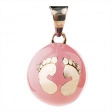 Медальон за бременни Bola - Розов със сребристи крачета -1