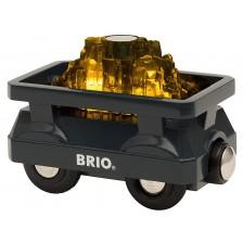 Играчка от дърво Brio World - Вагонче със злато -1