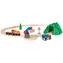 Игрален комплект от дърво Brio World - Товарен влак с релси и камион -1