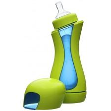 Бутилка с нагревателна камера от неръждаема стомана iiamo go -Зелено и синьо -1