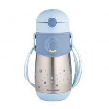 Чаша-термос със силиконова сламка Canpol - Синя, 300 ml -1
