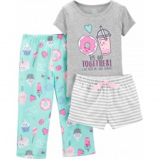 Комплект пижама Carter's - Донът, 3 части, 122 cm, 7 години -1