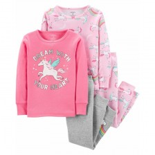 Комплект пижами Carter's - Розов еднорог, 2 броя, 116 cm, 6 години -1