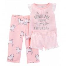 Комплект пижама Carter's - Котета, 3 части, 5-8 години -1
