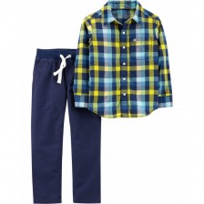 Комплект риза и панталон Carter's - Синьо-жълто каре, 122 cm, 5-8 години -1