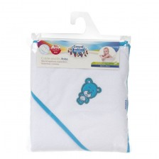Детска хавлия с качулка Canpol Newborn Baby, Мече, синьо -1