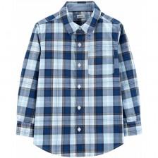 Риза с дълъг ръкав Carter's - Синьо каре, 4-8 години -1