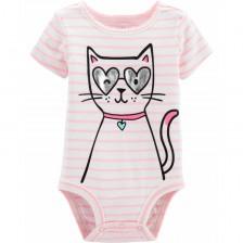 Бебешко боди с къс ръкав Carter's - Коте -1