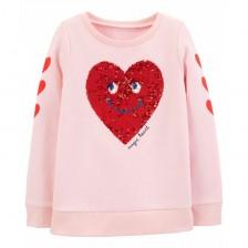 Блуза Carter's - Сърце с пайети, размер 4-5 години -1