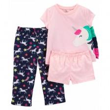 Комплект пижама Carter's - Еднорози, 3 части, 2-4 години -1