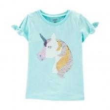 Детска тениска с пайети Carter's - Еднорог, размер 7 години, 122 cm -1