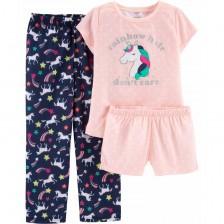 Комплект пижама Carter's - Rainbow hair don't care, 3 части, 5-8 години -1