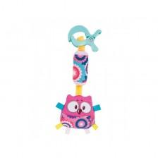 Плюшена играчка с клипс Canpol - Forest Friends, розова -1