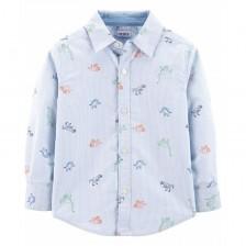 Риза с дълъг ръкав Carter's - Динозаври, 12-18 месеца -1