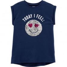Детска тениска с пайети Carter's - Today I Feel Happy, 6 години, 116 cm -1