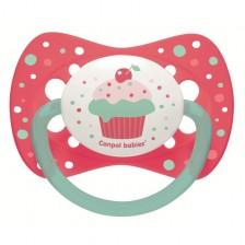 Силиконова залъгалка Canpol Cupcake - 6-18 месеца, розова -1