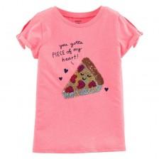 Детска тениска с пайети Carter's - Пица, 7 години, 122 cm -1