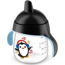 Неразливаща чаша с твърд накрайник Philips Aventa - 260 ml, Пингвин, черна -1