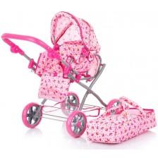 Количка за кукли Chipolino - Нели, с порт за бебе, розова -1