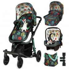 Бебешка количка Cosatto Giggle Quad - Hare Wood, с чанта, кошница и адаптери