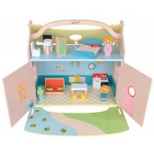 Дървена къща за игра Classic World - С мебели и дървени кукли -1
