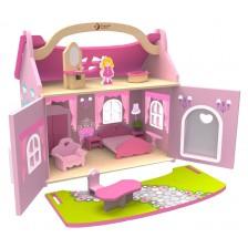 Дървена къща Classic World - С мебели и дървена кукла -1