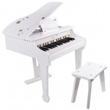 Детско електронно пиано Classic World - Бяло, с пейка -1