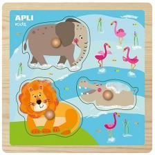 Дървен пъзел с дръжки APLI Kids - Животни в джунглата -1