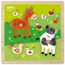 Дървен пъзел с дръжки APLI Kids - Животни във фермата -1