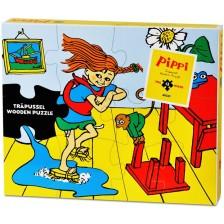 Дървен пъзел Pippi - Пипи Дългото чорапче, 12 части -1