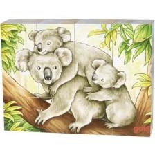 Дървени кубчета Goki - Австралийски животни, 12 части, асортимент -1
