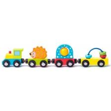 Дървено влакче Woody с вагончета и различни активности  -1