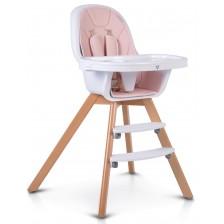 Дървено столче за хранене 2 в 1 Cangaroo - Hygge, розово