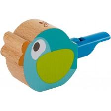 Дървена свирка Hape - Птиче, тюркоаз -1