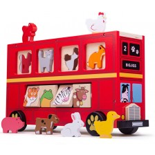 Дървена играчка за сортиране Bigjigs - Автобус с животинчета -1
