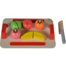 Дървена играчка Moni - Дъска за рязане с плодове -1